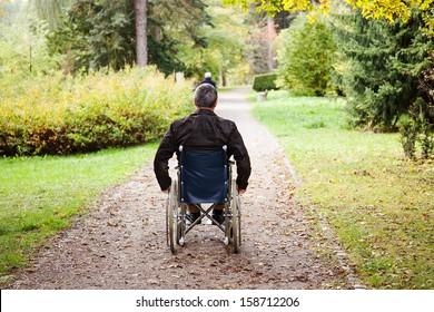 Man in wheelchair in autumnal park