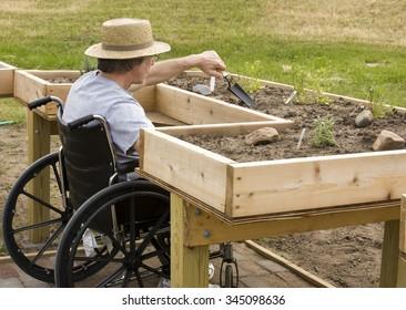 Man in a wheelchair working a garden at an enabling bench