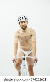 man with white bicycle