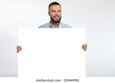 man white blank form of advertising