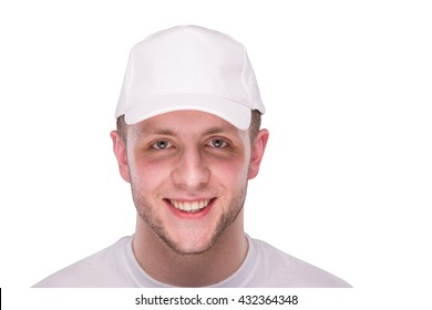 man in a white cap on a white background