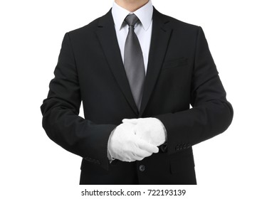 Man in white gloves on white background