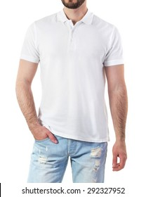 Man in white polo mock-up isolated on white