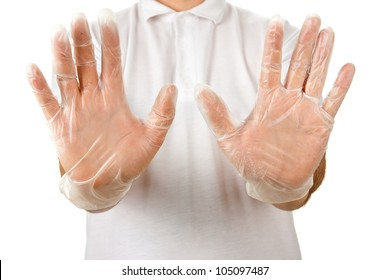 Man in the white shirt showing opened palms in disposable gloves