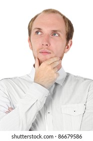 man in white shirt thinking, hand on chin, isolated