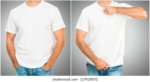 Man in white T shirt on gray background for your design