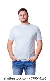 man in white t-shirt hands in pocktes with white background