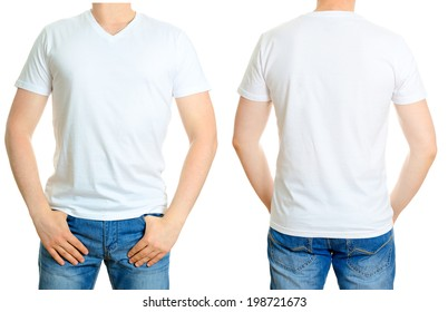 Man in white t-shirt. Isolated on white background.