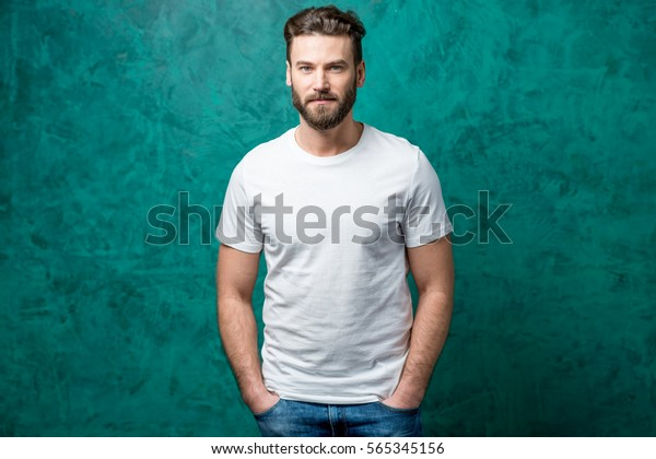 Man White Tshirt Space Copy Paste People Beauty Fashion Stock Image