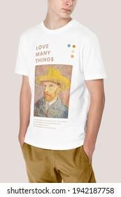 Man in white t-shirt with Van Gogh print teen's apparel shoot - Shutterstock ID 1942187758