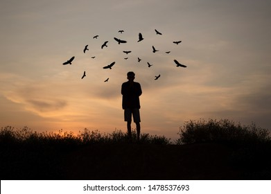 A man who is standing on a hill surrounded by birds