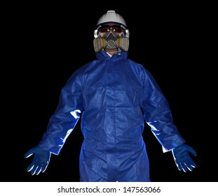 Man who working on acid mask