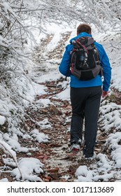 Man with a winter blue jacket having a backpack walking on a snowy path through forest