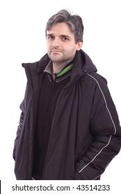 Man in winter jacket on white background