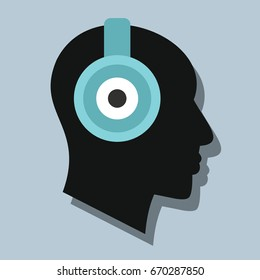 Man witch headphones in flat style with shadow.  illustration