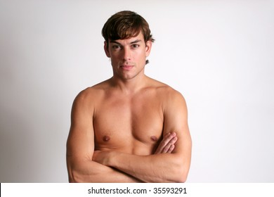 Man without shirt on