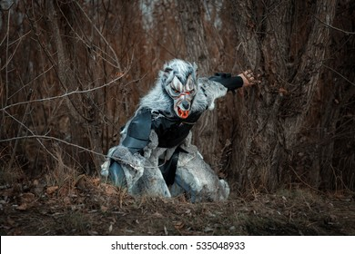 Man wolf werewolf sneaks through the woods, he was terrible.