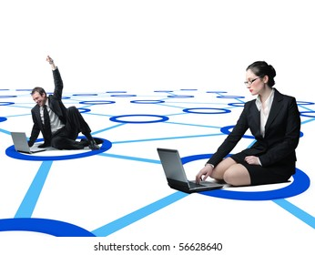 man and woma use laptop on virtual 3d web connection