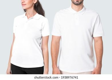 Man and woman in basic white polo shirts apparel studio shoot