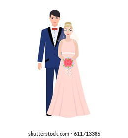A man and a woman in beautiful outfits. The bride and groom at the wedding.Wedding single icon in cartoon style bitmap symbol stock illustration.