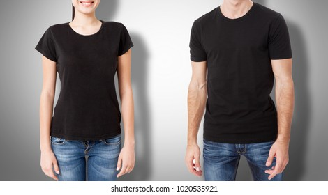 Man and woman in blank black tshirt front and rear on gray background.