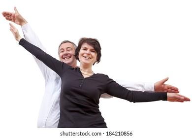 Man and woman bubbling over joie de vivre