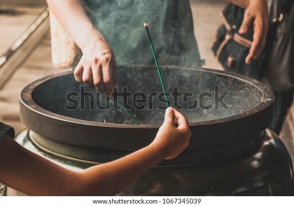Man Woman Burning Incense Sticks Temple Stock Photo (Edit Now