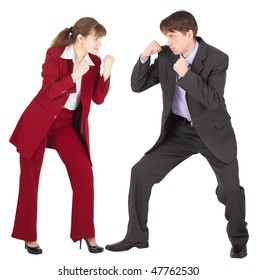 Man and woman in business suits are going to fight on white background
