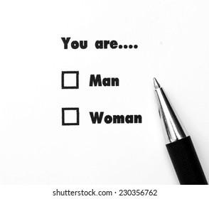 Man and woman check boxes ink print