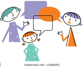 Man woman and child with speech bubbles
