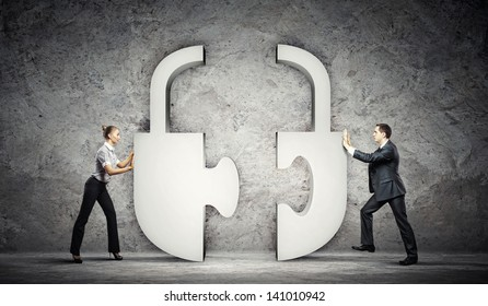 Man and woman connecting symbol. Interaction concept