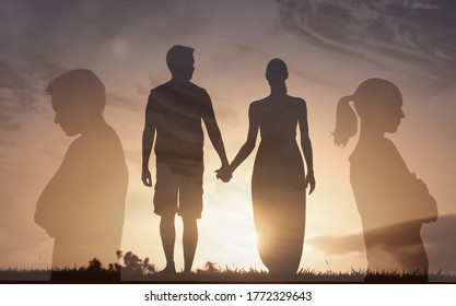 Man woman couple in a relationship brake up from, marriage problems, and divorce.