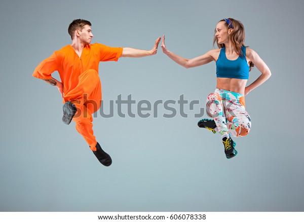 Man Woman Dancing Hip Hop Choreography Stock Photo (Edit