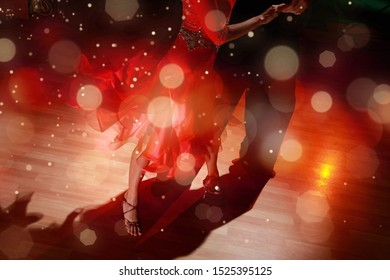 Man and a woman dancing Salsa on background