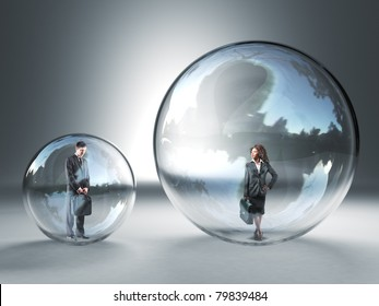 man and woman in different glass 3d sphere