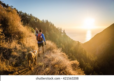 Man, woman, and dog hike in Big Sur, CA as the sun sets over the ocean.
