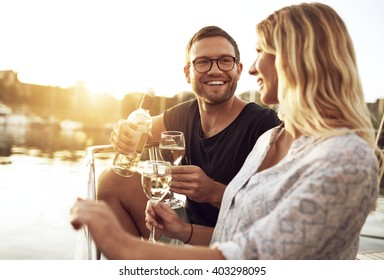 Man and Woman Drinking Wine Outside a Summer Day