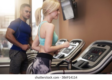Man and woman during the workout