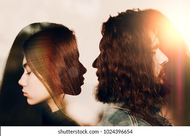 Man and woman facing. Relationships frenemies concept. Multiple exposure.