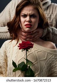 man and woman flowers luxury romance portrait