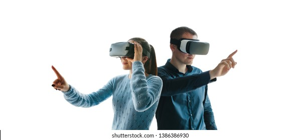 A man and a woman in glasses of virtual reality. The concept of modern technologies and technologies of the future.