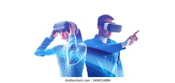 A man and a woman in glasses of virtual reality. The concept of modern technologies and technologies of the future. VR glasses.