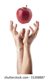 Man and woman hand trying to catch an apple.  You can change the apple with your product.