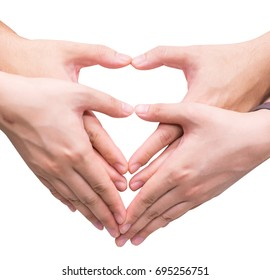 man and woman hands show heart gesture isolated on white
