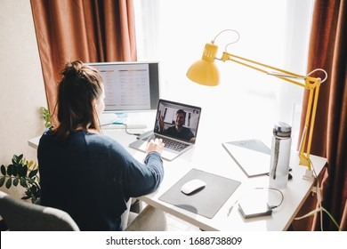 man and woman have conversation online. home office. telework.