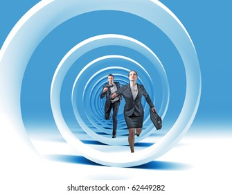man and woman have race in 3d blue spiral