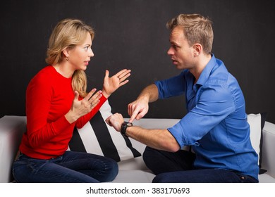 Man and woman having an argument about being late