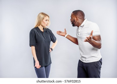 Man and woman having quarrel