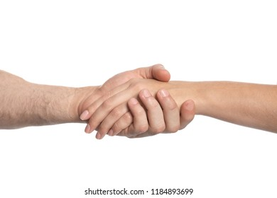 Man and woman holding hands on white background. Concept of support and help