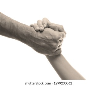 Man and woman holding hands on white background, closeup. Help concept
